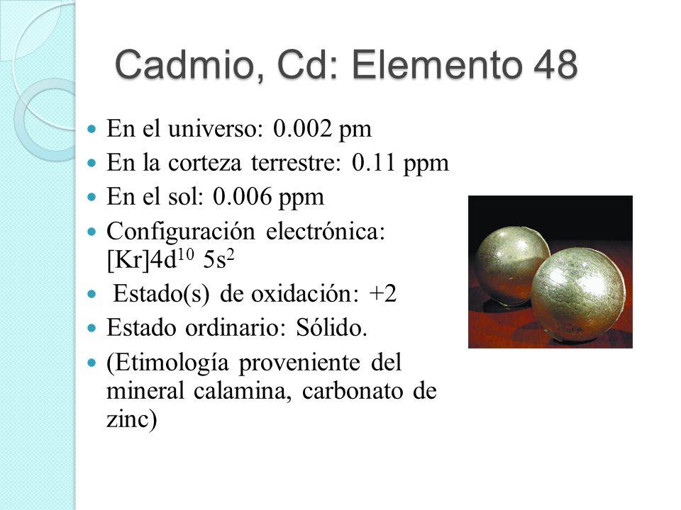 Cadmio, Cd: Elemento 48 En el universo: 0.002 pm En la corteza terrestre: 0.11 ppm En el sol: 0.006 ppm Configuración electrónica: [Kr]4d 10 5s 2 Esta