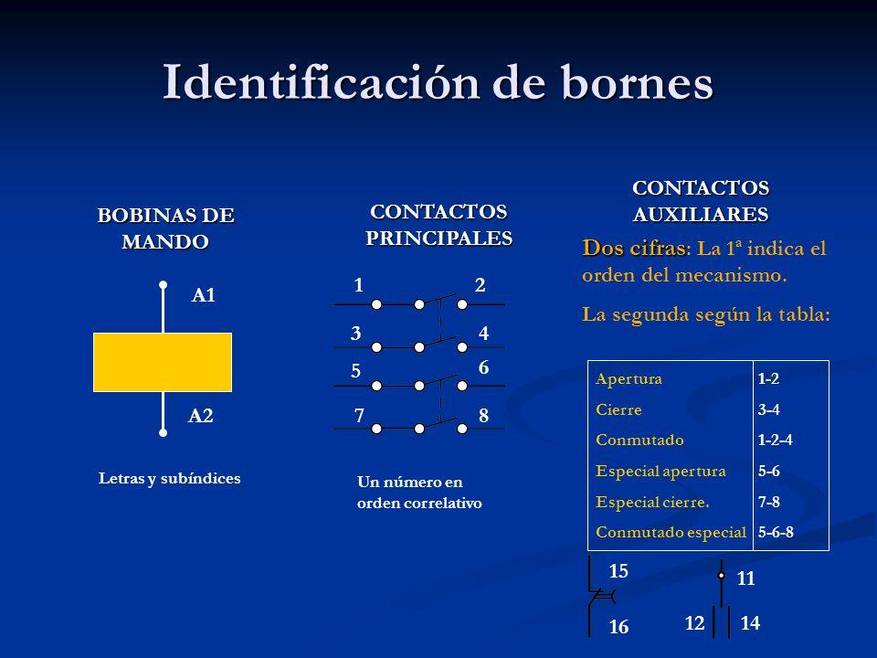 Identificación de bornes A1 A2 2 1 34 5 6 7 8 Letras y subíndices Un número en orden correlativo Apertura Cierre Conmutado Especial apertura Especial