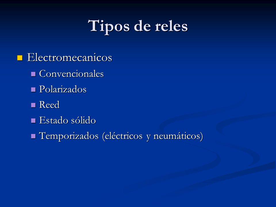 Tipos de reles Electromecanicos Electromecanicos Convencionales Convencionales Polarizados Polarizados Reed Reed Estado sólido Estado sólido Temporiza