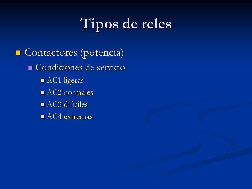 Tipos de reles Contactores (potencia) Contactores (potencia) Condiciones de servicio Condiciones de servicio AC1 ligeras AC1 ligeras AC2 normales AC2