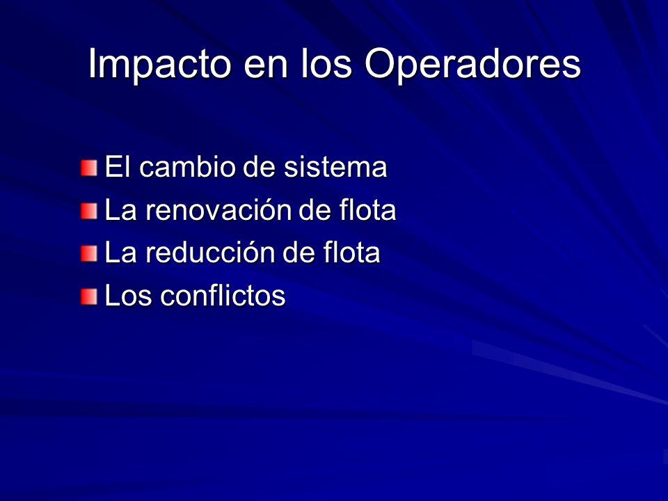 Impacto en los Operadores El cambio de sistema La renovación de flota La reducción de flota Los conflictos