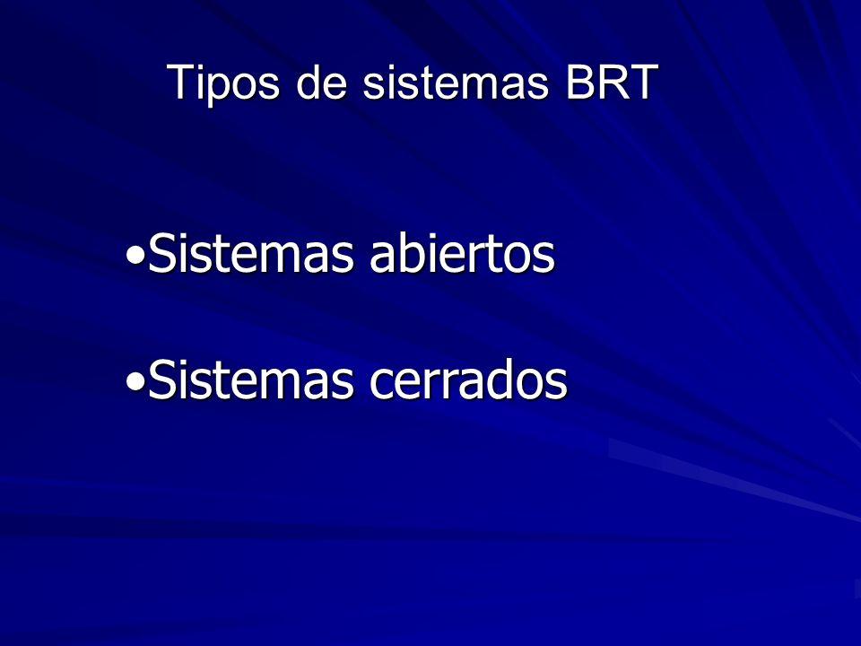 Tipos de sistemas BRT Sistemas abiertosSistemas abiertos Sistemas cerradosSistemas cerrados