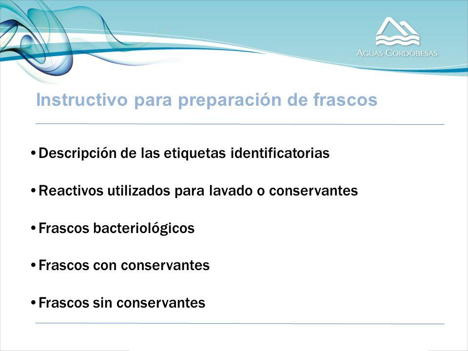 Instructivo para preparación de frascos Descripción de las etiquetas identificatorias Reactivos utilizados para lavado o conservantes Frascos bacteriológicos Frascos con conservantes Frascos sin conservantes
