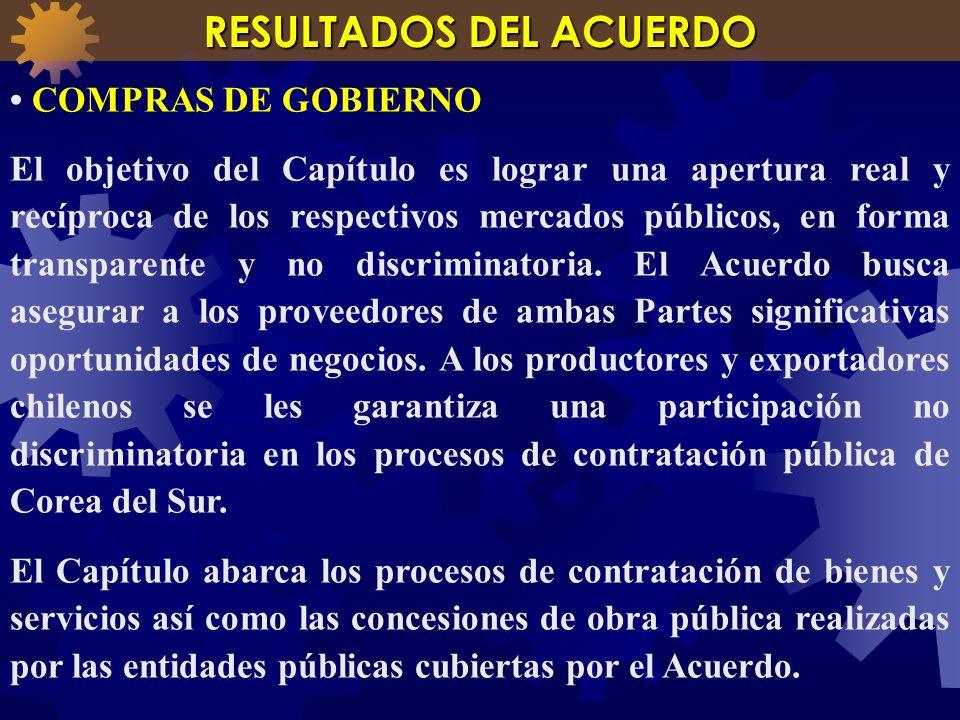 COMPRAS DE GOBIERNO El objetivo del Capítulo es lograr una apertura real y recíproca de los respectivos mercados públicos, en forma transparente y no