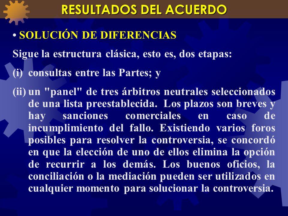 SOLUCIÓN DE DIFERENCIAS Sigue la estructura clásica, esto es, dos etapas: (i)consultas entre las Partes; y (ii)un