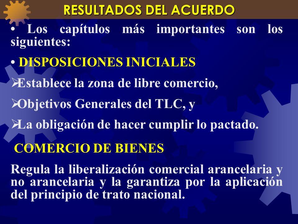 Los capítulos más importantes son los siguientes: DISPOSICIONES INICIALES Establece la zona de libre comercio, Objetivos Generales del TLC, y La oblig
