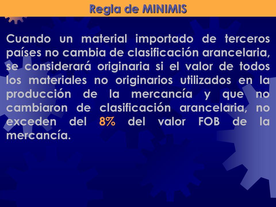 Regla de MINIMIS Cuando un material importado de terceros países no cambia de clasificación arancelaria, se considerará originaria si el valor de todo