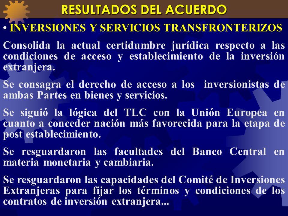 INVERSIONES Y SERVICIOS TRANSFRONTERIZOS Consolida la actual certidumbre jurídica respecto a las condiciones de acceso y establecimiento de la inversi