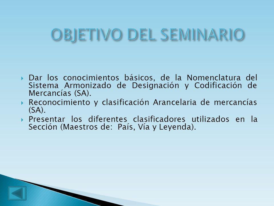 Dar los conocimientos básicos, de la Nomenclatura del Sistema Armonizado de Designación y Codificación de Mercancías (SA). Reconocimiento y clasificac