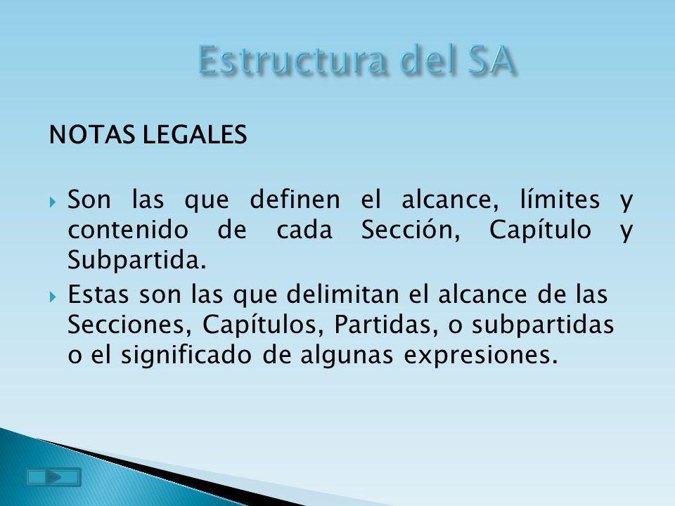 NOTAS LEGALES Son las que definen el alcance, límites y contenido de cada Sección, Capítulo y Subpartida. Estas son las que delimitan el alcance de la