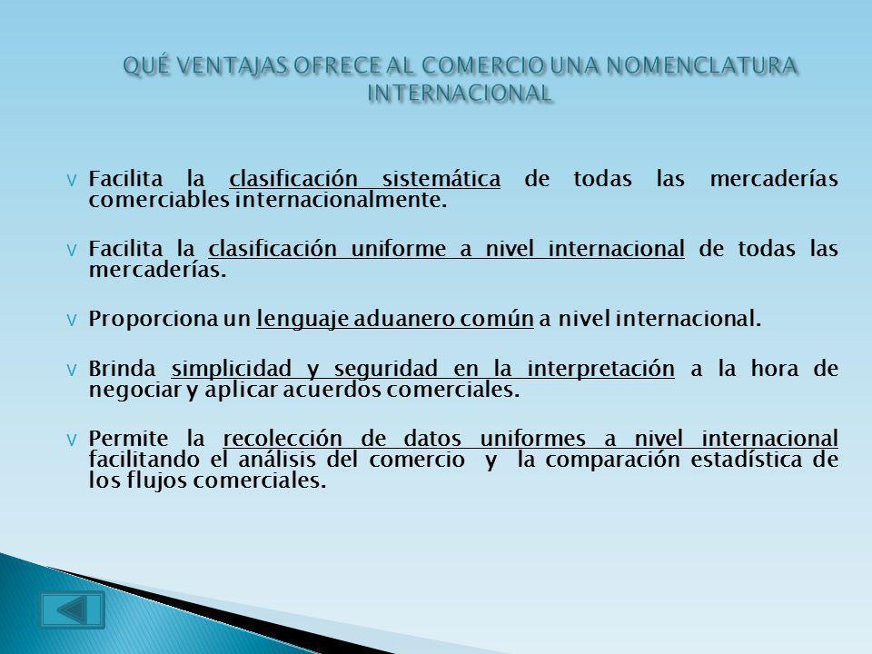 vFvFacilita la clasificación sistemática de todas las mercaderías comerciables internacionalmente. vFvFacilita la clasificación uniforme a nivel inter