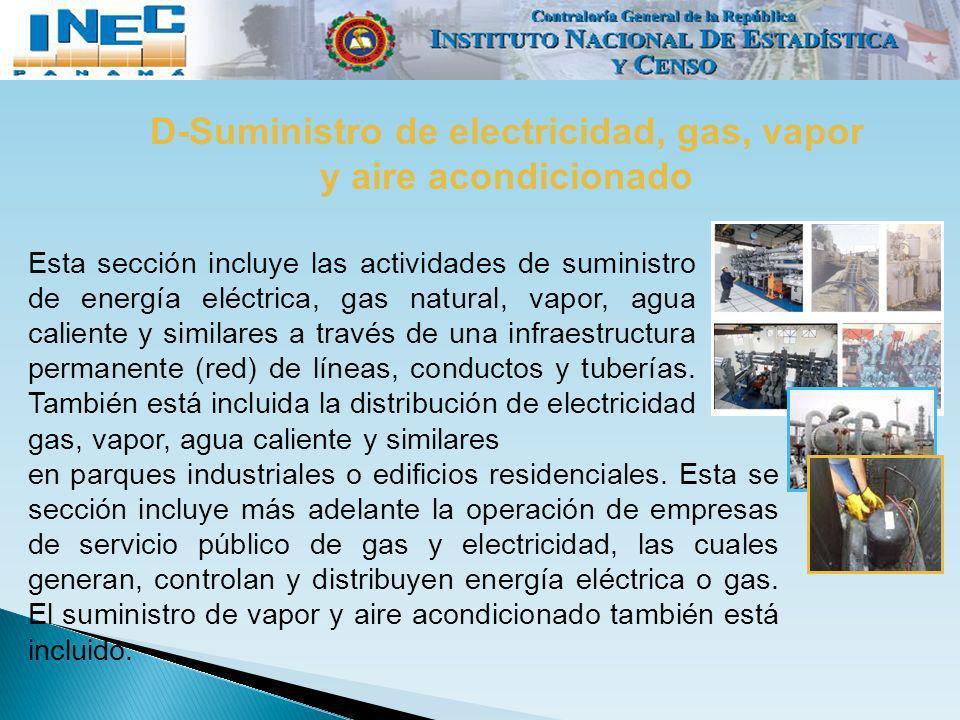 D-Suministro de electricidad, gas, vapor y aire acondicionado Esta sección incluye las actividades de suministro de energía eléctrica, gas natural, va