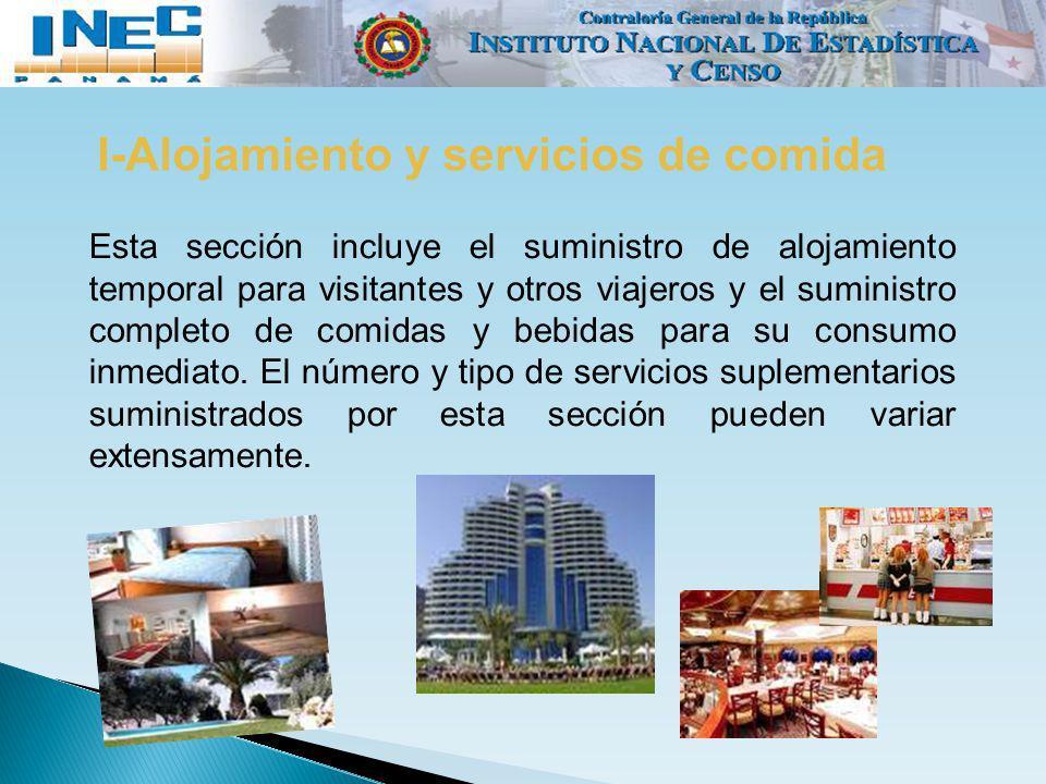 I-Alojamiento y servicios de comida Esta sección incluye el suministro de alojamiento temporal para visitantes y otros viajeros y el suministro comple