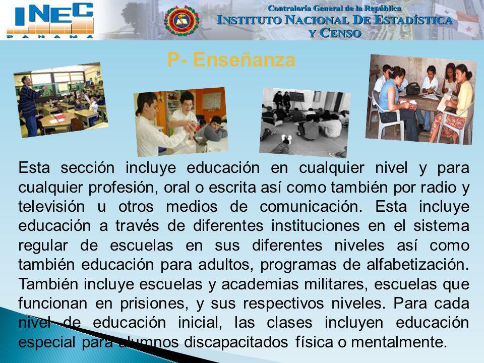 P- Enseñanza Esta sección incluye educación en cualquier nivel y para cualquier profesión, oral o escrita así como también por radio y televisión u ot