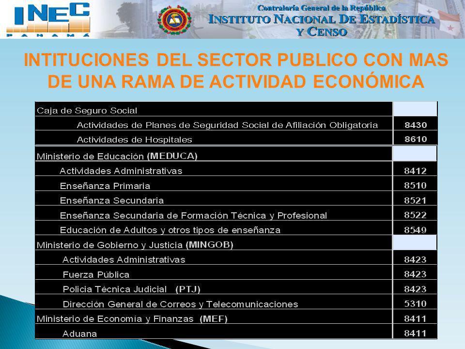 INTITUCIONES DEL SECTOR PUBLICO CON MAS DE UNA RAMA DE ACTIVIDAD ECONÓMICA