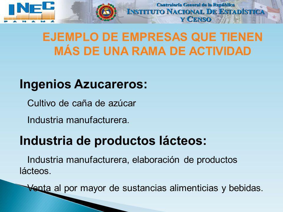 EJEMPLO DE EMPRESAS QUE TIENEN MÁS DE UNA RAMA DE ACTIVIDAD Ingenios Azucareros: Cultivo de caña de azúcar Industria manufacturera. Industria de produ