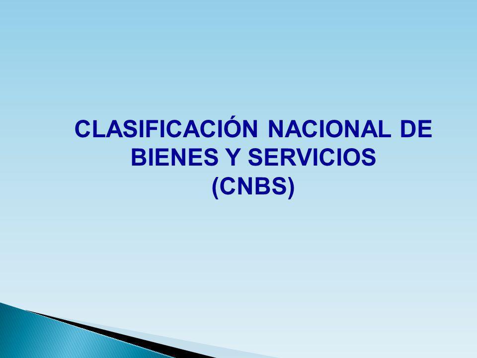 CLASIFICACIÓN NACIONAL DE BIENES Y SERVICIOS (CNBS)