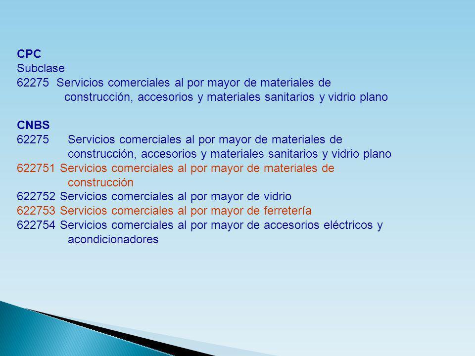 CPC Subclase 62275 Servicios comerciales al por mayor de materiales de construcción, accesorios y materiales sanitarios y vidrio plano CNBS 62275 Serv
