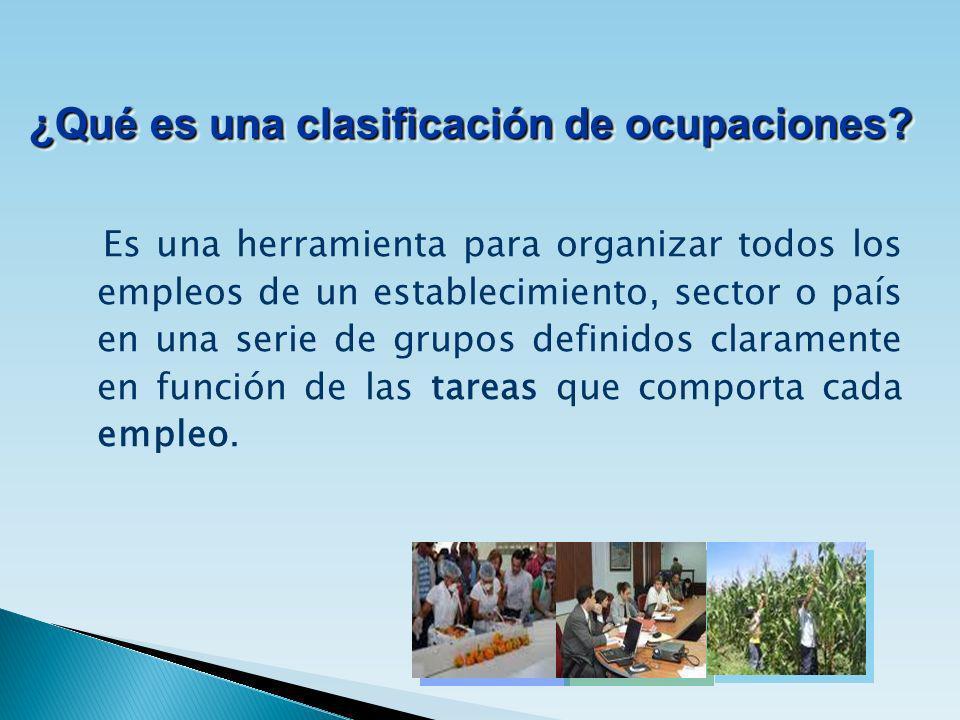 Es una herramienta para organizar todos los empleos de un establecimiento, sector o país en una serie de grupos definidos claramente en función de las