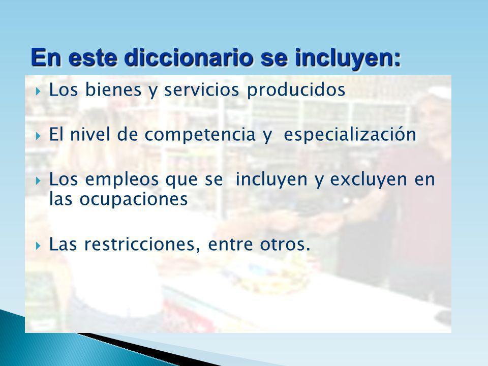 Los bienes y servicios producidos El nivel de competencia y especialización Los empleos que se incluyen y excluyen en las ocupaciones Las restriccione