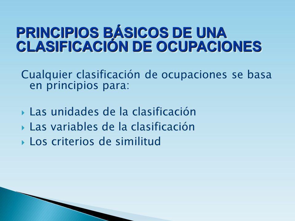 Cualquier clasificación de ocupaciones se basa en principios para: Las unidades de la clasificación Las variables de la clasificación Los criterios de