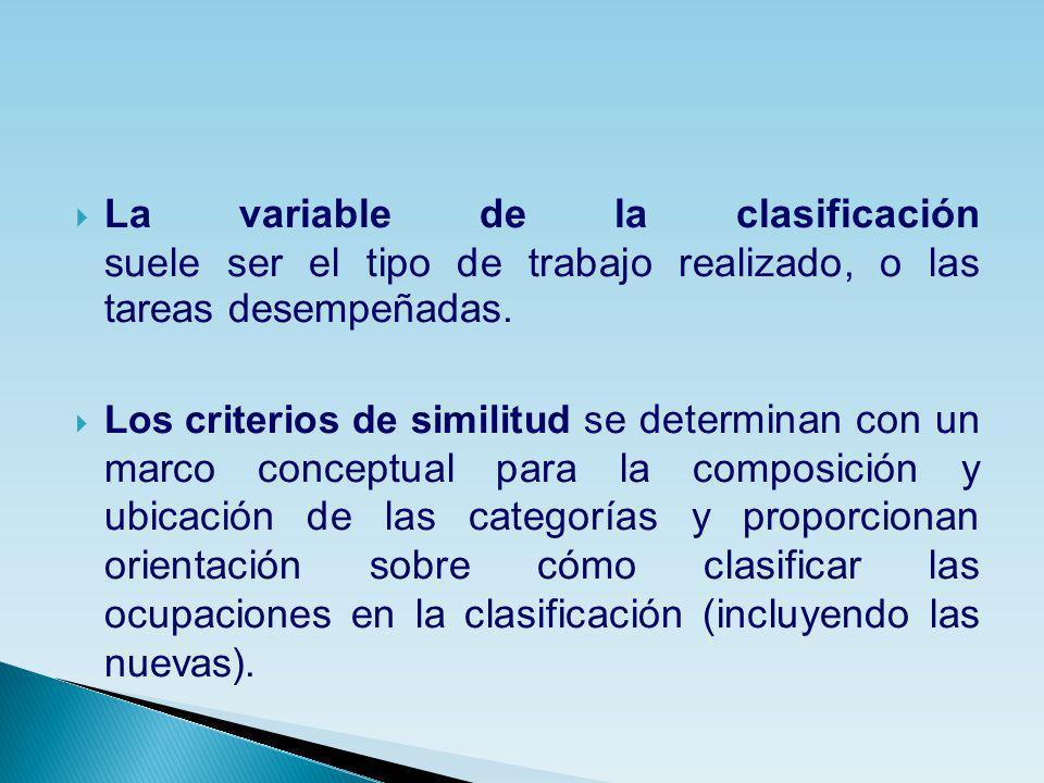 La variable de la clasificación suele ser el tipo de trabajo realizado, o las tareas desempeñadas. Los criterios de similitud s e determinan con un ma