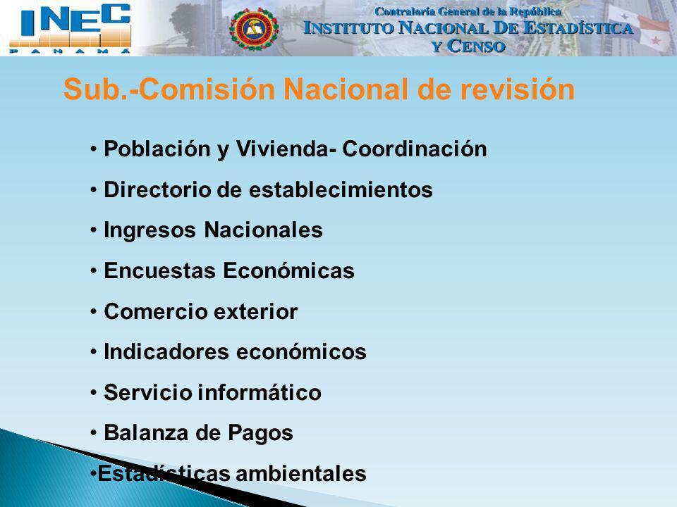 Sub.-Comisión Nacional de revisión Población y Vivienda- Coordinación Directorio de establecimientos Ingresos Nacionales Encuestas Económicas Comercio