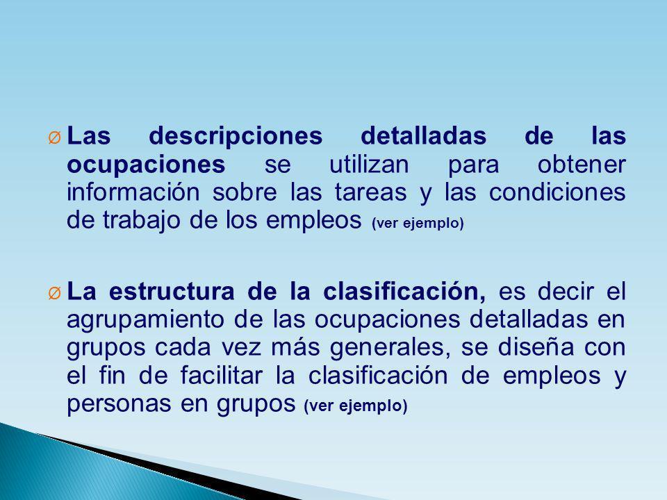 Ø Las descripciones detalladas de las ocupaciones se utilizan para obtener información sobre las tareas y las condiciones de trabajo de los empleos (v