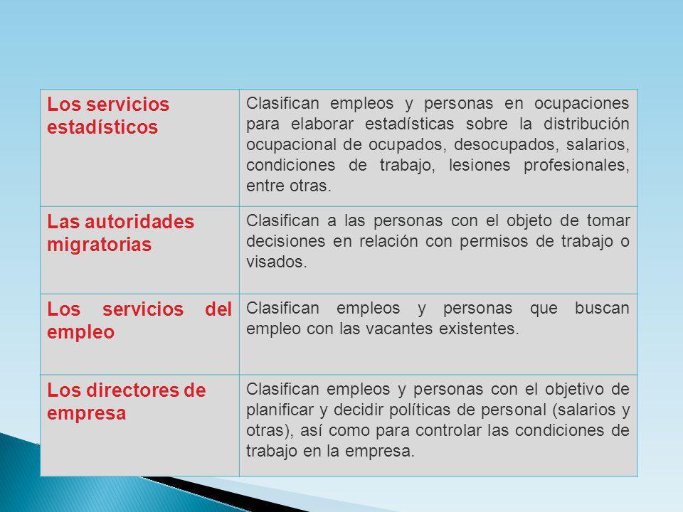Los servicios estadísticos Clasifican empleos y personas en ocupaciones para elaborar estadísticas sobre la distribución ocupacional de ocupados, deso