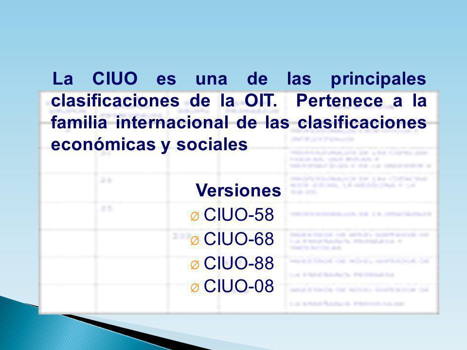 La CIUO es una de las principales clasificaciones de la OIT. Pertenece a la familia internacional de las clasificaciones económicas y sociales Version