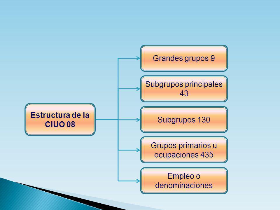 Estructura de la CIUO 08 Subgrupos principales 43 Subgrupos 130 Grupos primarios u ocupaciones 435 Empleo o denominaciones Grandes grupos 9