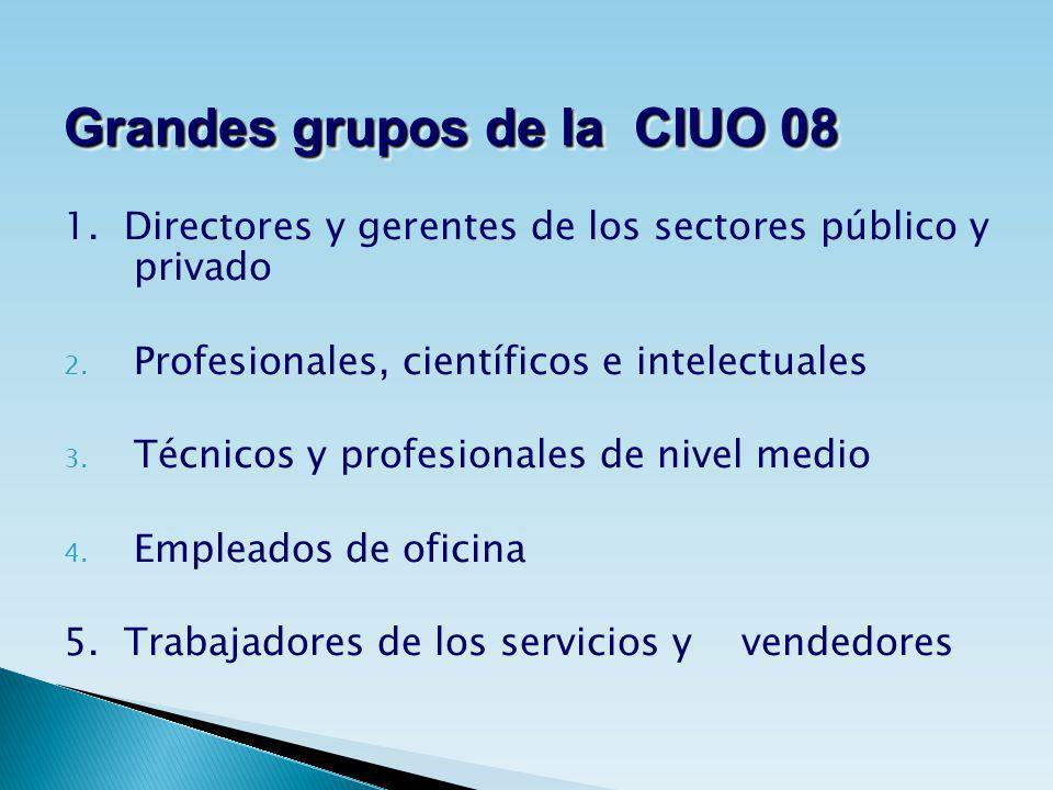 1. Directores y gerentes de los sectores público y privado 2. Profesionales, científicos e intelectuales 3. Técnicos y profesionales de nivel medio 4.