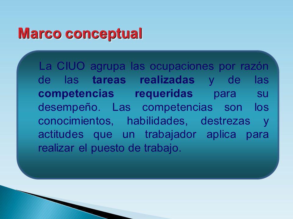 La CIUO agrupa las ocupaciones por razón de las tareas realizadas y de las competencias requeridas para su desempeño. Las competencias son los conocim