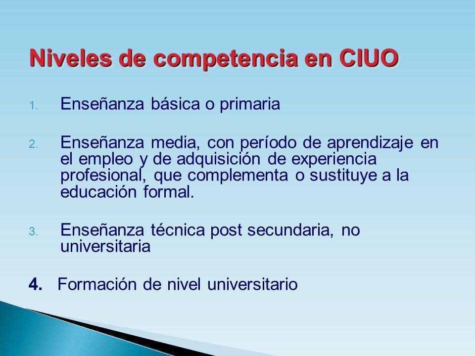 1. Enseñanza básica o primaria 2. Enseñanza media, con período de aprendizaje en el empleo y de adquisición de experiencia profesional, que complement