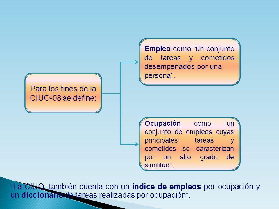 Para los fines de la CIUO-08 se define: Ocupación como un conjunto de empleos cuyas principales tareas y cometidos se caracterizan por un alto grado d