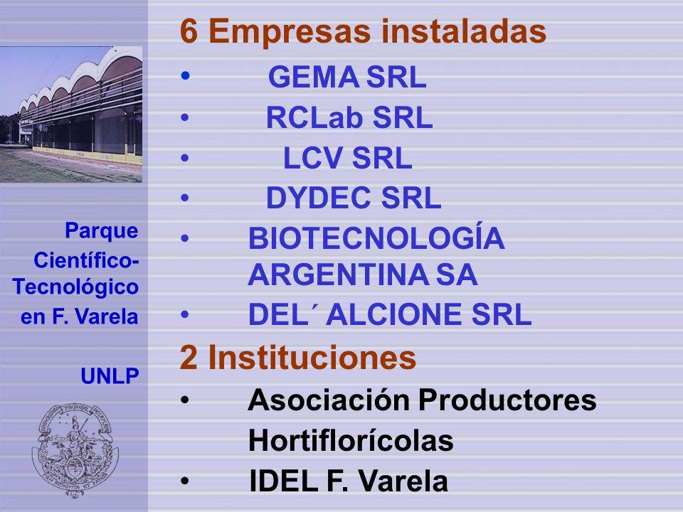 6 Empresas instaladas GEMA SRL RCLab SRL LCV SRL DYDEC SRL BIOTECNOLOGÍA ARGENTINA SA DEL´ ALCIONE SRL 2 Instituciones Asociación Productores Hortiflorícolas IDEL F.
