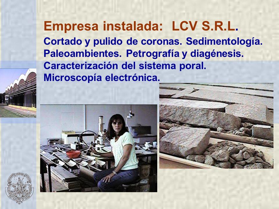 Empresa instalada: LCV S.R.L. Cortado y pulido de coronas. Sedimentología. Paleoambientes. Petrografía y diagénesis. Caracterización del sistema poral