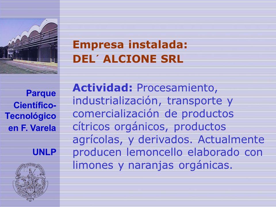 Empresa instalada: DEL´ ALCIONE SRL Actividad: Procesamiento, industrialización, transporte y comercialización de productos cítricos orgánicos, productos agrícolas, y derivados.