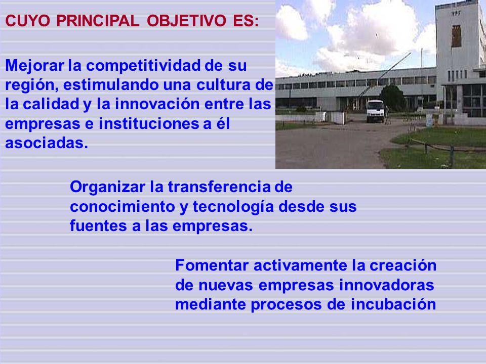 CUYO PRINCIPAL OBJETIVO ES: Mejorar la competitividad de su región, estimulando una cultura de la calidad y la innovación entre las empresas e institu