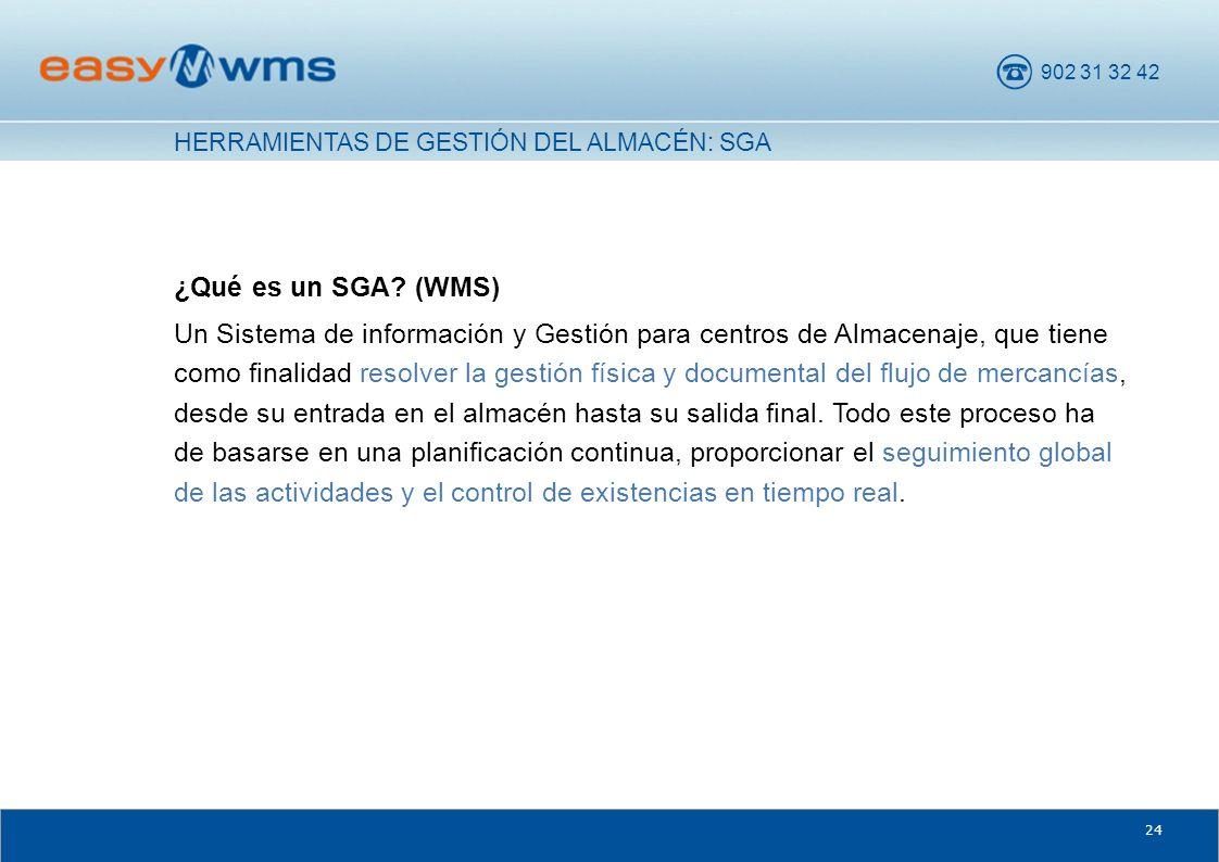 902 31 32 42 24 ¿Qué es un SGA? (WMS) Un Sistema de información y Gestión para centros de Almacenaje, que tiene como finalidad resolver la gestión fís