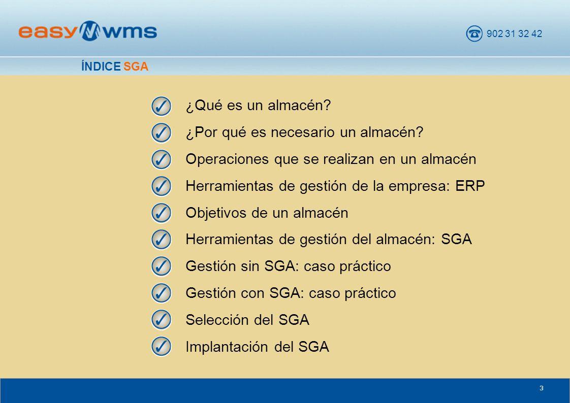 902 31 32 42 64 Easy WMS facilita la gestión y el control de las existencias del almacén (stock) y los cambios de estado (correcto, caducado, averiado...) del mismo.