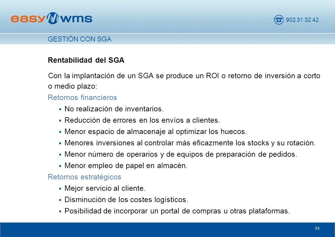 902 31 32 42 33 Rentabilidad del SGA Con la implantación de un SGA se produce un ROI o retorno de inversión a corto o medio plazo: Retornos financiero