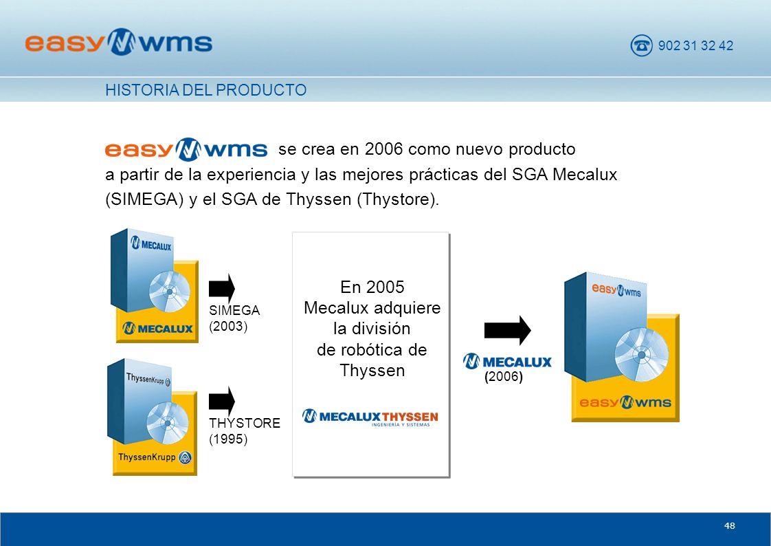 902 31 32 42 48 se crea en 2006 como nuevo producto a partir de la experiencia y las mejores prácticas del SGA Mecalux (SIMEGA) y el SGA de Thyssen (T
