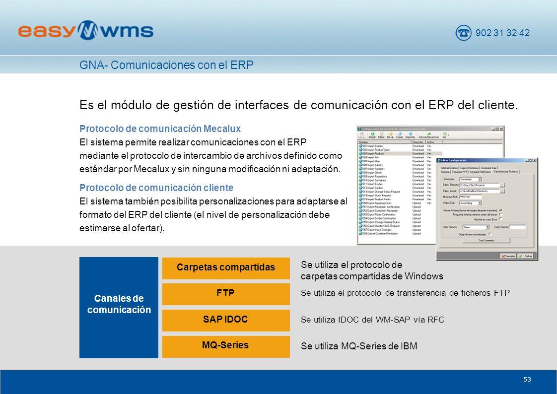 902 31 32 42 53 Es el módulo de gestión de interfaces de comunicación con el ERP del cliente. Protocolo de comunicación Mecalux El sistema permite rea