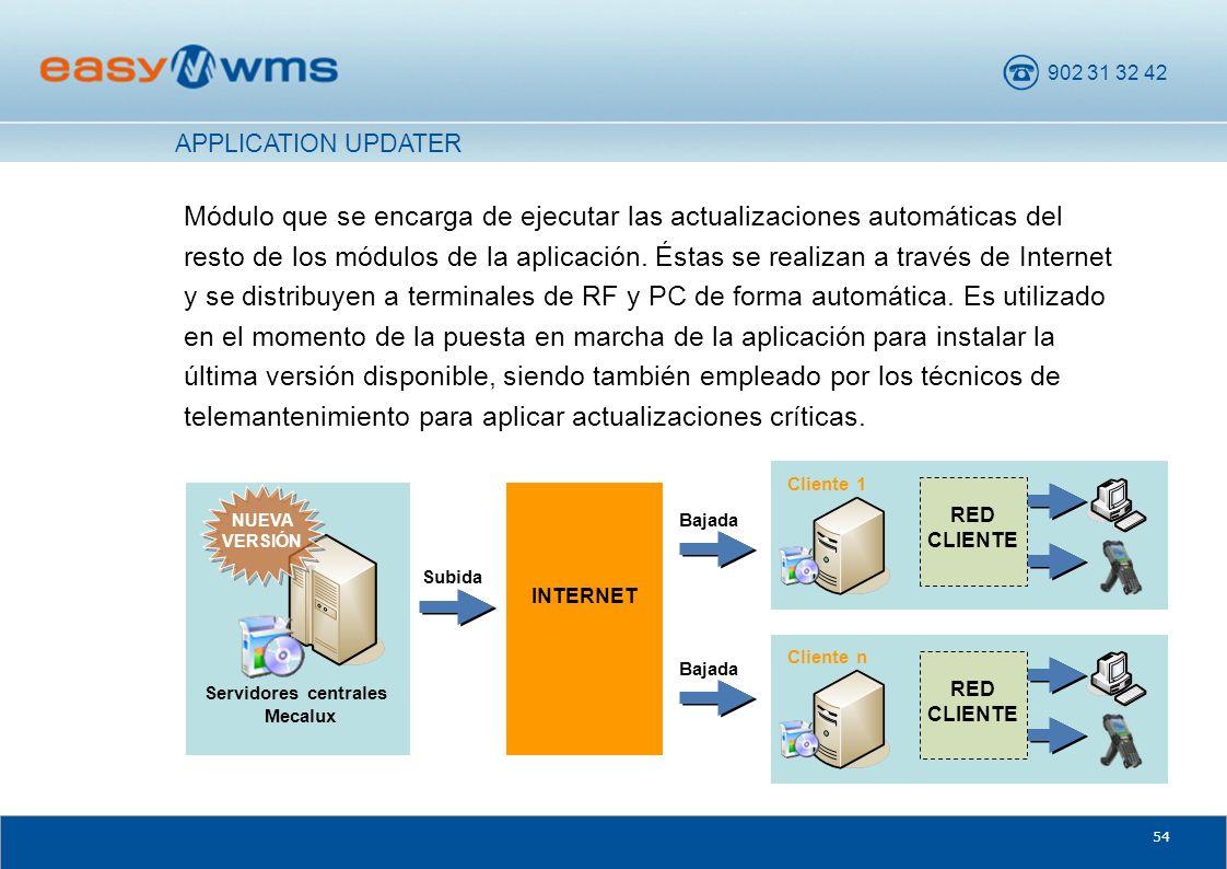 902 31 32 42 54 Módulo que se encarga de ejecutar las actualizaciones automáticas del resto de los módulos de la aplicación. Éstas se realizan a travé