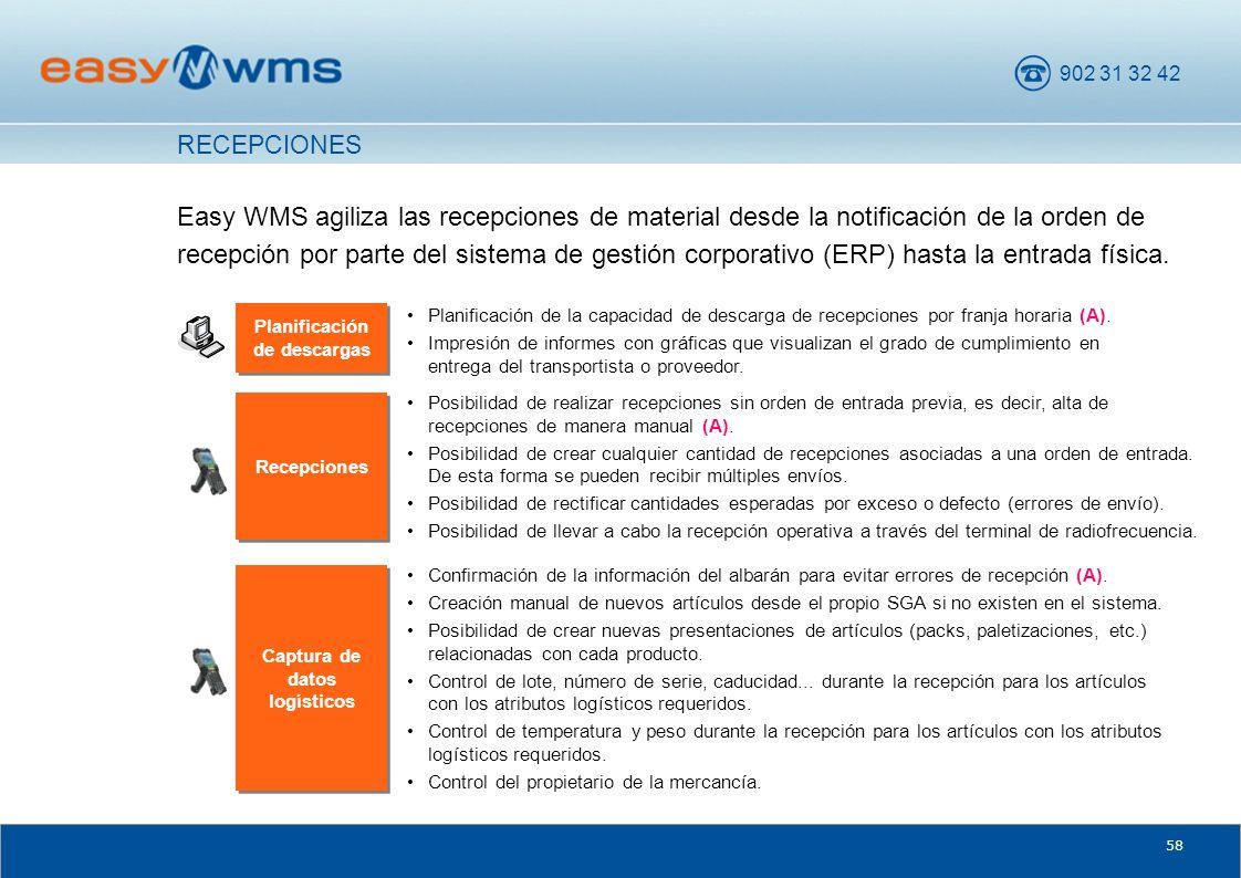 902 31 32 42 58 Easy WMS agiliza las recepciones de material desde la notificación de la orden de recepción por parte del sistema de gestión corporati