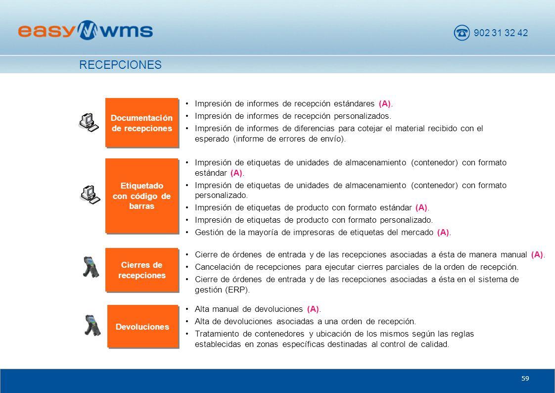 902 31 32 42 59 Documentación de recepciones Impresión de informes de recepción estándares (A). Impresión de informes de recepción personalizados. Imp