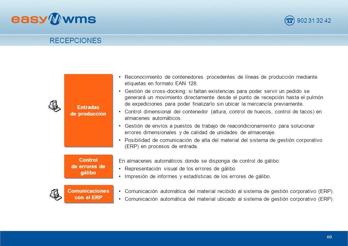 902 31 32 42 60 Comunicaciones con el ERP Comunicación automática del material recibido al sistema de gestión corporativo (ERP). Comunicación automáti