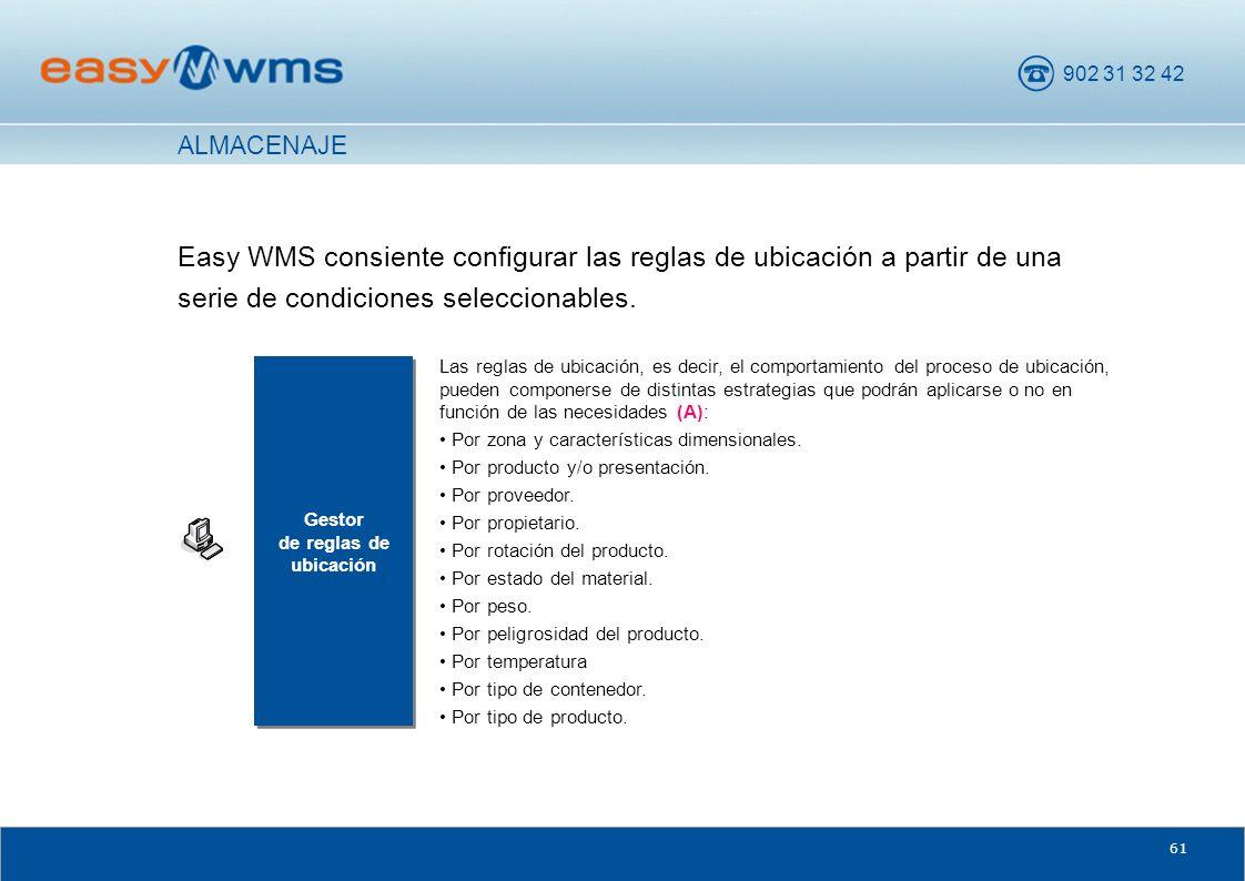 902 31 32 42 61 Easy WMS consiente configurar las reglas de ubicación a partir de una serie de condiciones seleccionables. Gestor de reglas de ubicaci