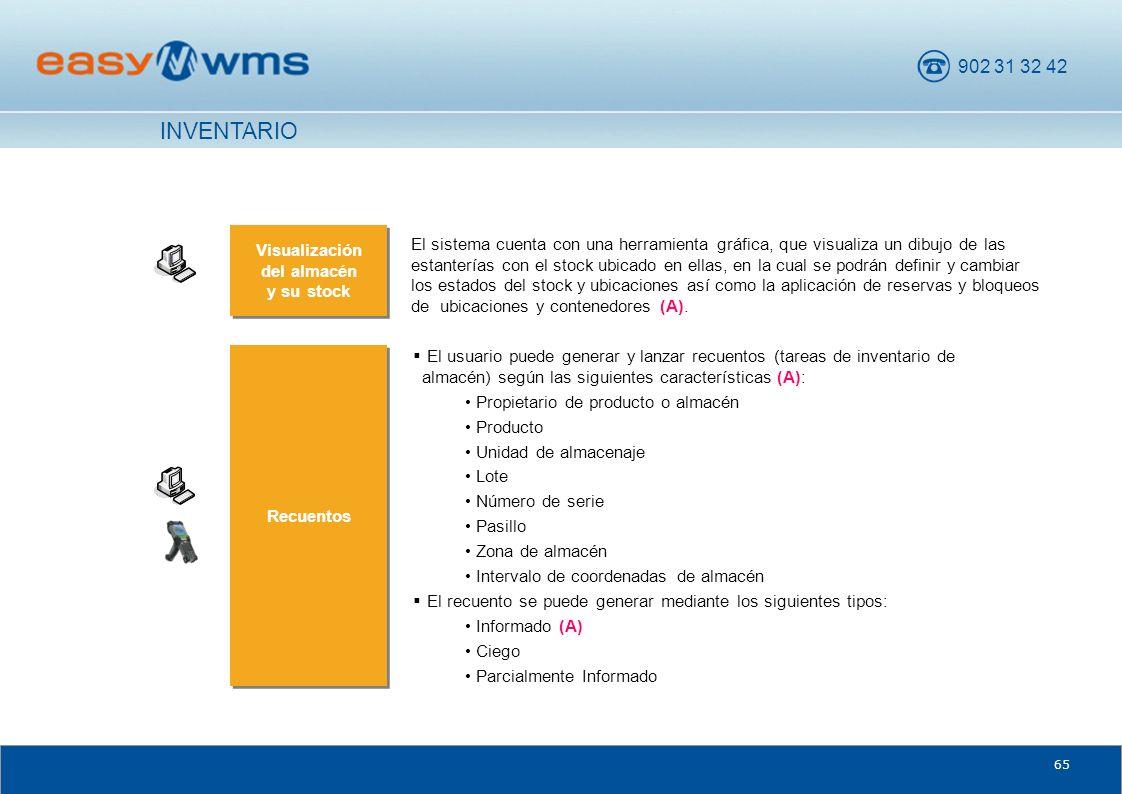 902 31 32 42 65 Recuentos El usuario puede generar y lanzar recuentos (tareas de inventario de almacén) según las siguientes características (A): Prop